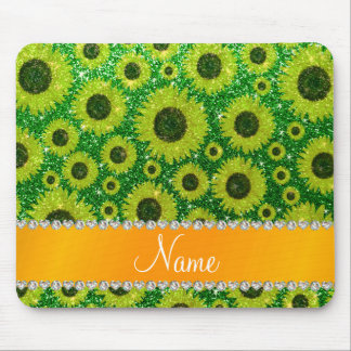 Personalized name green glitter sunflowers mousepads