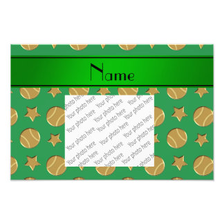 Personalized name green gold baseballs stars photo print