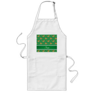 Personalized name green gold hearts mom love long apron