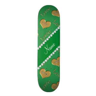 Personalized name green gold hearts mom love skate boards