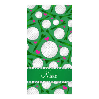 Personalized name green golf balls tees hearts photo card
