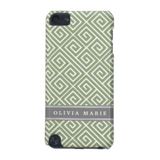 Personalized Name Green Greek Key Pattern iPod Touch (5th Generation) Covers