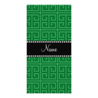Personalized name green greek key pattern photo greeting card