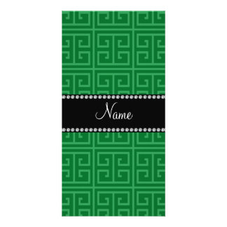 Personalized name green greek key pattern photo greeting card