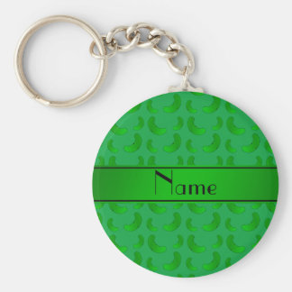 Personalized name green green pickles basic round button key ring