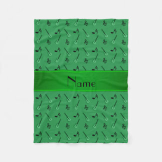 Personalized name green guitars fleece blanket