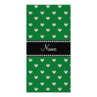 Personalized name green heart diamonds photo card template