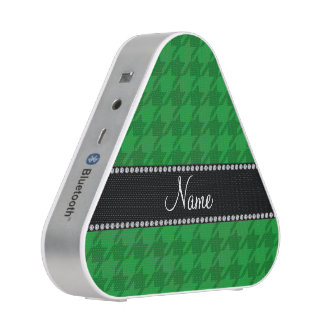 Personalized name green houndstooth bluetooth speaker