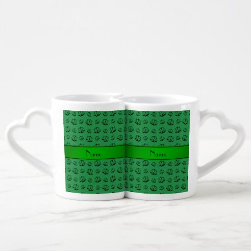 Personalized name green justice scales lovers mug set