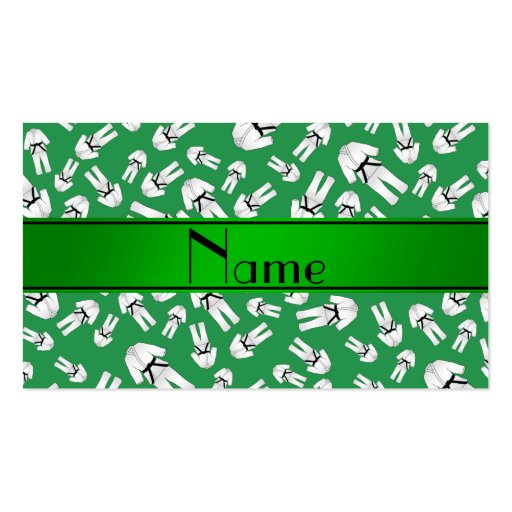 Personalized name green karate pattern business cards