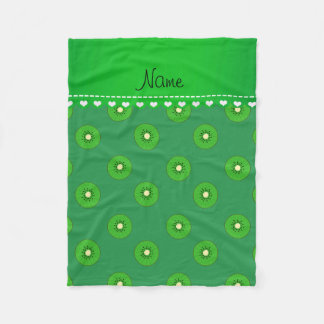 Personalized name green kiwi fleece blanket