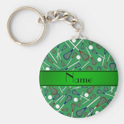 Personalized name green lacrosse pattern key chain