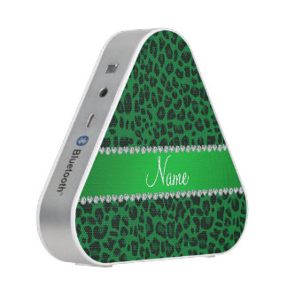 Personalized name green leopard pattern