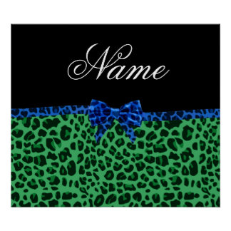 Personalized name green leopard print blue bow