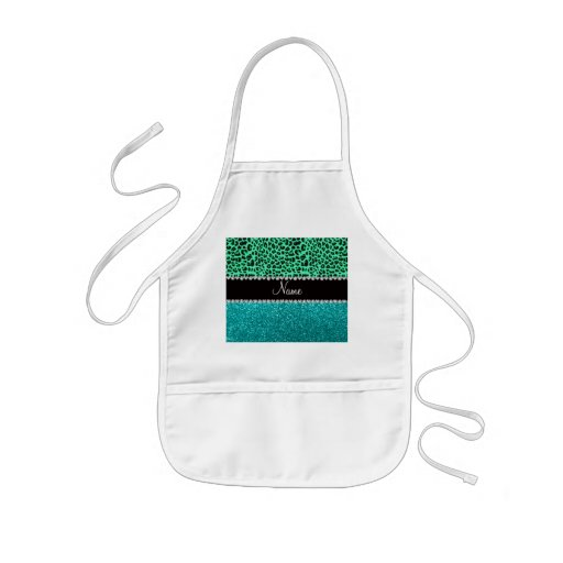 Personalized name green leopard turquoise glitter apron