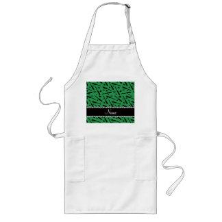 Personalized name green mascara hearts bows long apron