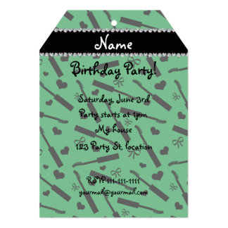 "Personalized name green mascara hearts bows 5"" x 7"" invitation card"
