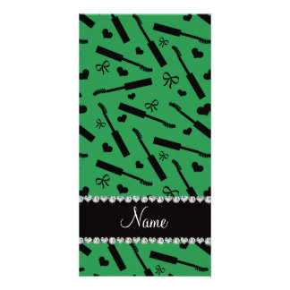 Personalized name green mascara hearts bows customised photo card