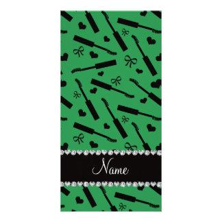 Personalized name green mascara hearts bows photo card