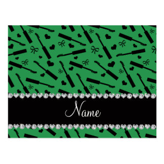 Personalized name green mascara hearts bows postcard