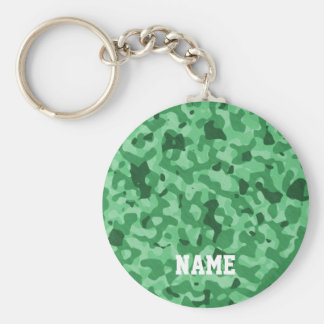 Personalized Name | Green Military Camo Pattern Key Ring
