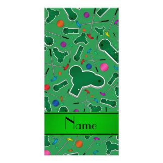 Personalized name green mini golf photo card