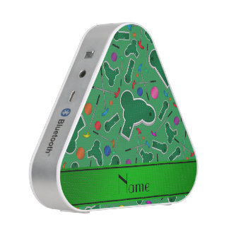 Personalized name green mini golf bluetooth speaker