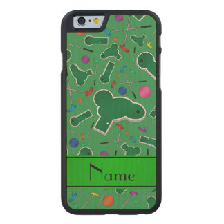 Personalized name green mini golf carved® maple iPhone 6 slim case