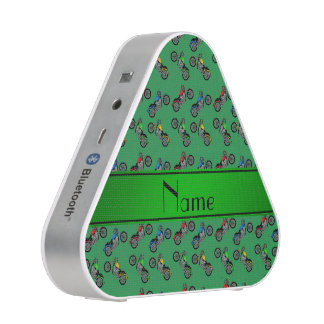 Personalized name green motorcycles bluetooth speaker