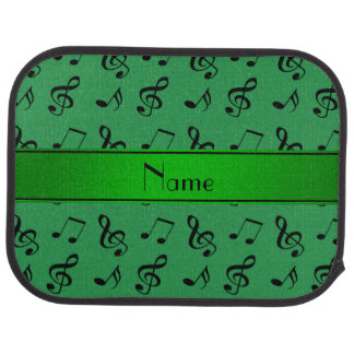 Personalized name green music notes floor mat