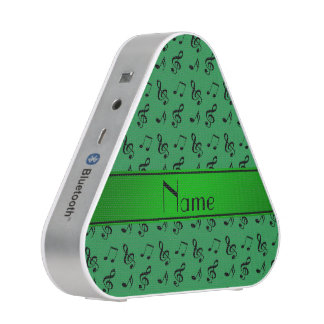 Personalized name green music notes bluetooth speaker
