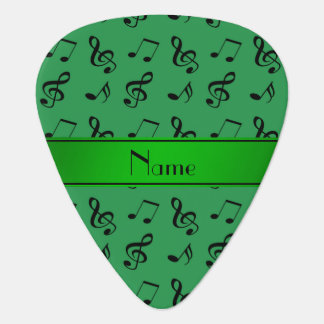 Personalized name green music notes pick