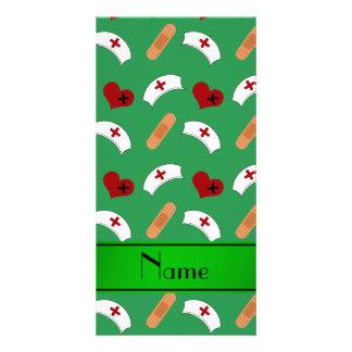 Personalized name green nurse pattern custom photo card