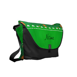Personalized name green orange carrots messenger bag