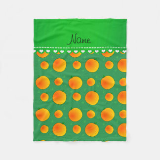 Personalized name green peaches green leaves swirl fleece blanket