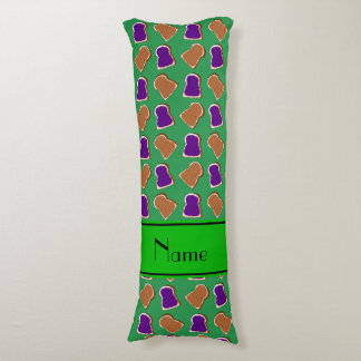 Personalized name green peanut butter jelly body pillow