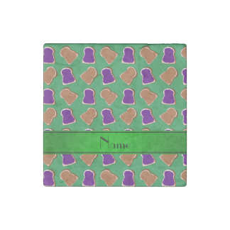 Personalized name green peanut butter jelly stone magnet