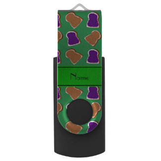 Personalized name green peanut butter jelly swivel USB 2.0 flash drive