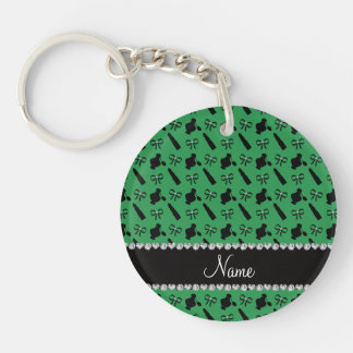 Personalized name green perfume lipstick bows acrylic key chains