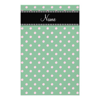 Personalized name Green pink diamonds Stationery