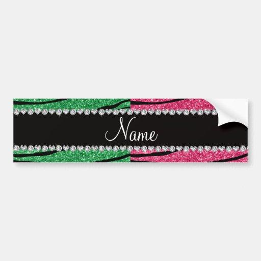 Personalized name green pink glitter zebra bumper sticker