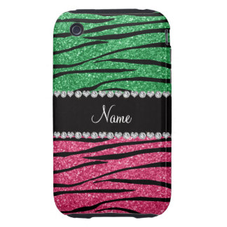 Personalized name green pink glitter zebra iPhone 3 tough cases