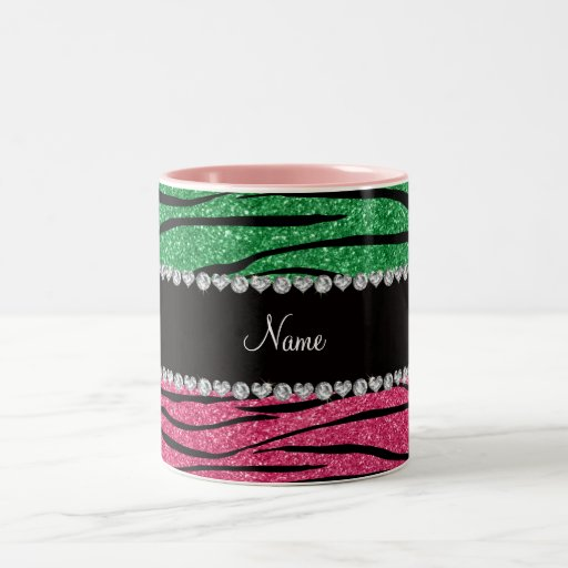 Personalized name green pink glitter zebra coffee mugs