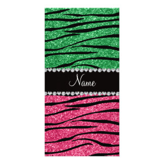 Personalized name green pink glitter zebra personalized photo card