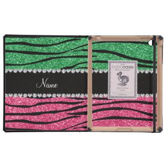 Personalized name green pink glitter zebra stripes iPad folio cases