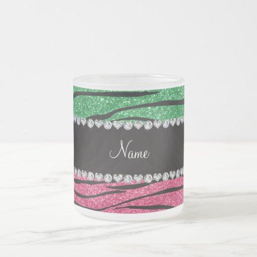 Personalized name green pink glitter zebra stripes coffee mugs