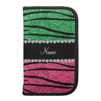 Personalized name green pink glitter zebra stripes organizer