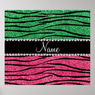 Personalized name green pink glitter zebra stripes poster