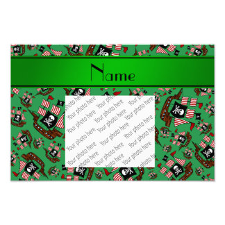 Personalized name green pirate ships photographic print