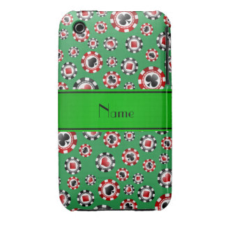Personalized name green poker chips Case-Mate iPhone 3 case